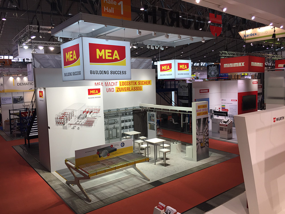 Messestand der Firma MEA Metal Applications auf der Logimat 2017 in Stuttgart