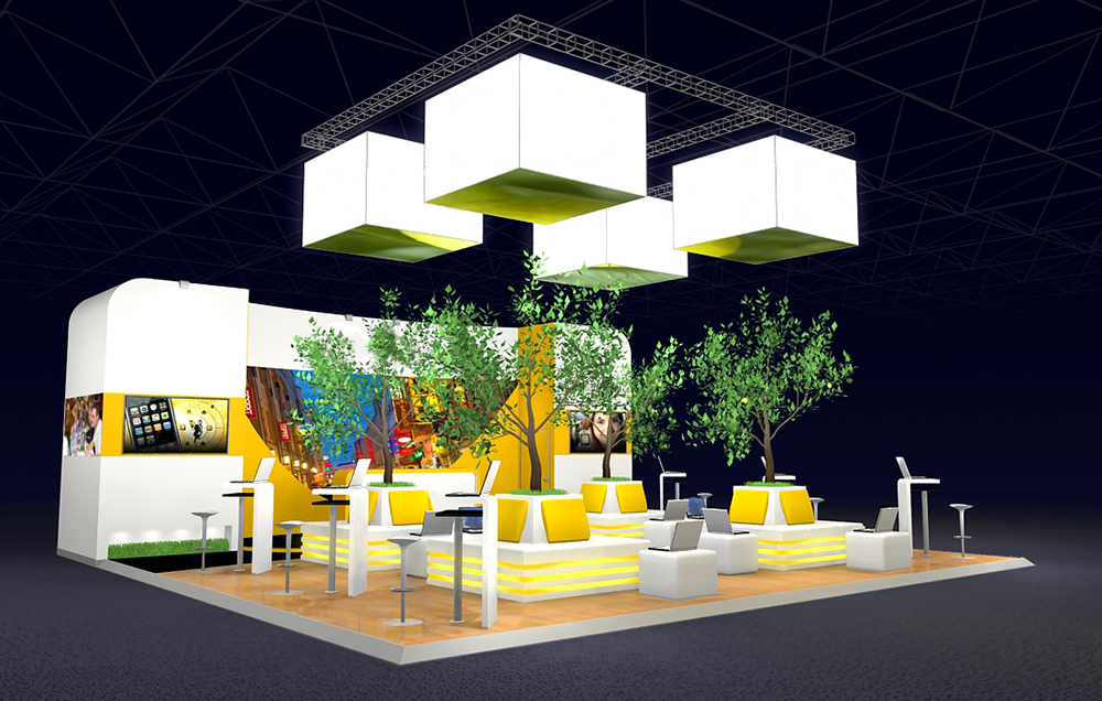 Very nice exhibition stand design with lemon and orange trees
