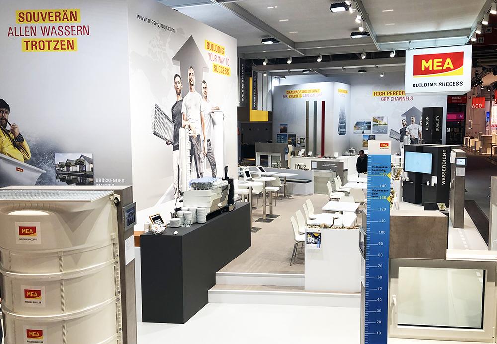 Messestand der Firma MEA Bausysteme auf der BAU 2019 in München
