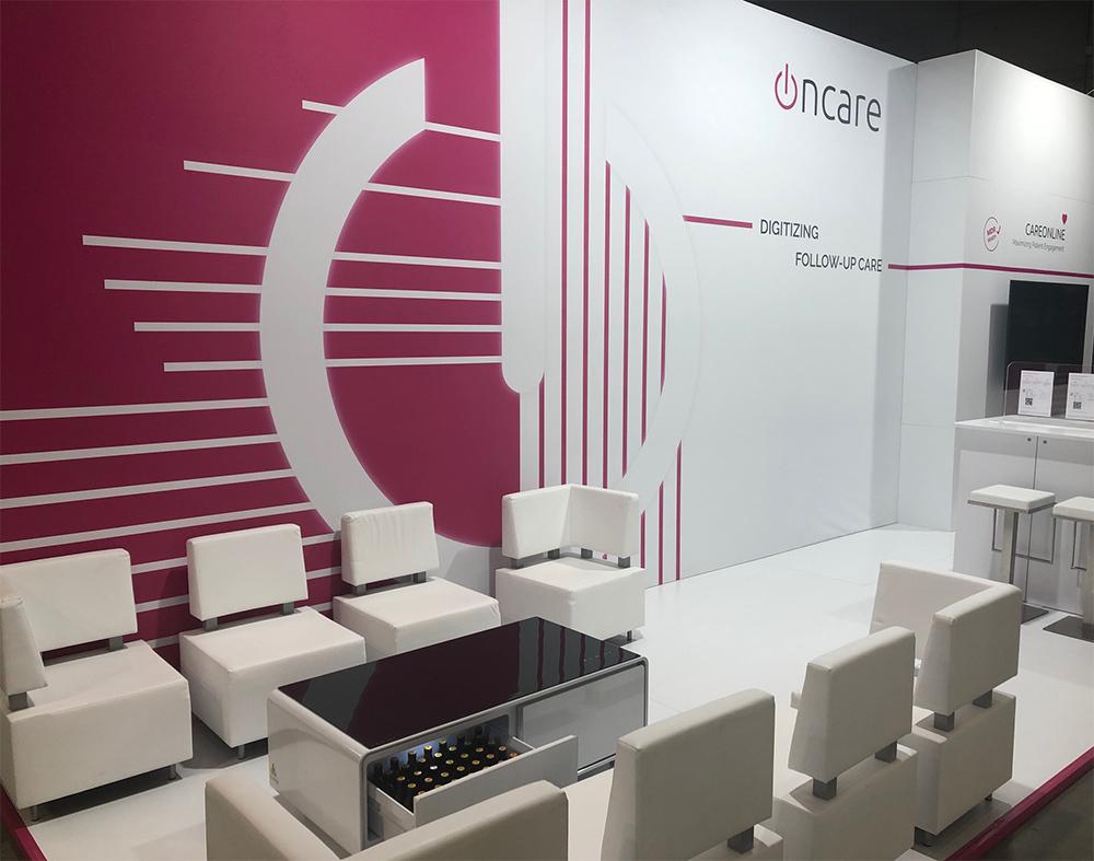 Messestand der Firma Oncare auf der ESTRO Messe in Mailand 2019