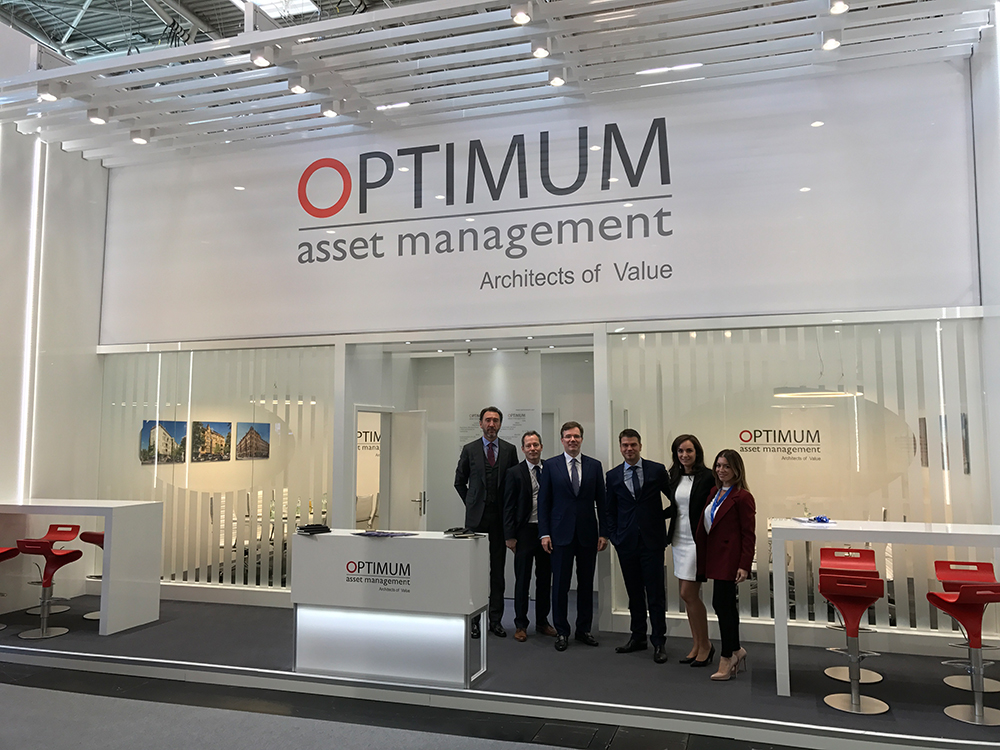 Exhibition stand OPTIMUM asset management Expo Real 2017 in Munich