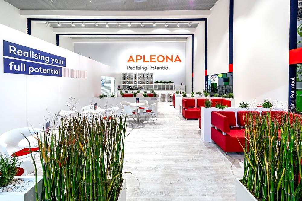 Messestand Säulenhalle APLEONA auf der Expo Real 2018 in München