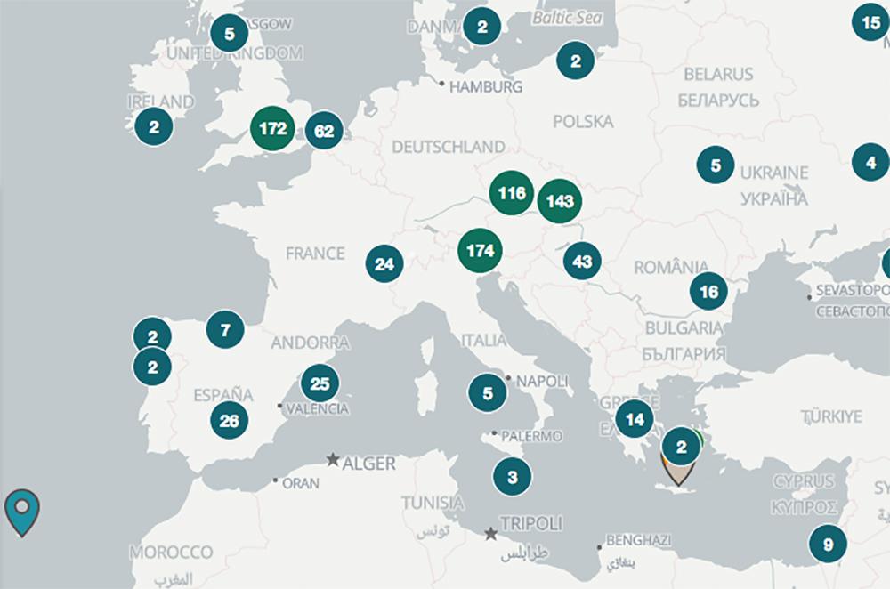 Europa Karte mit Bitcoin Automaten ATM