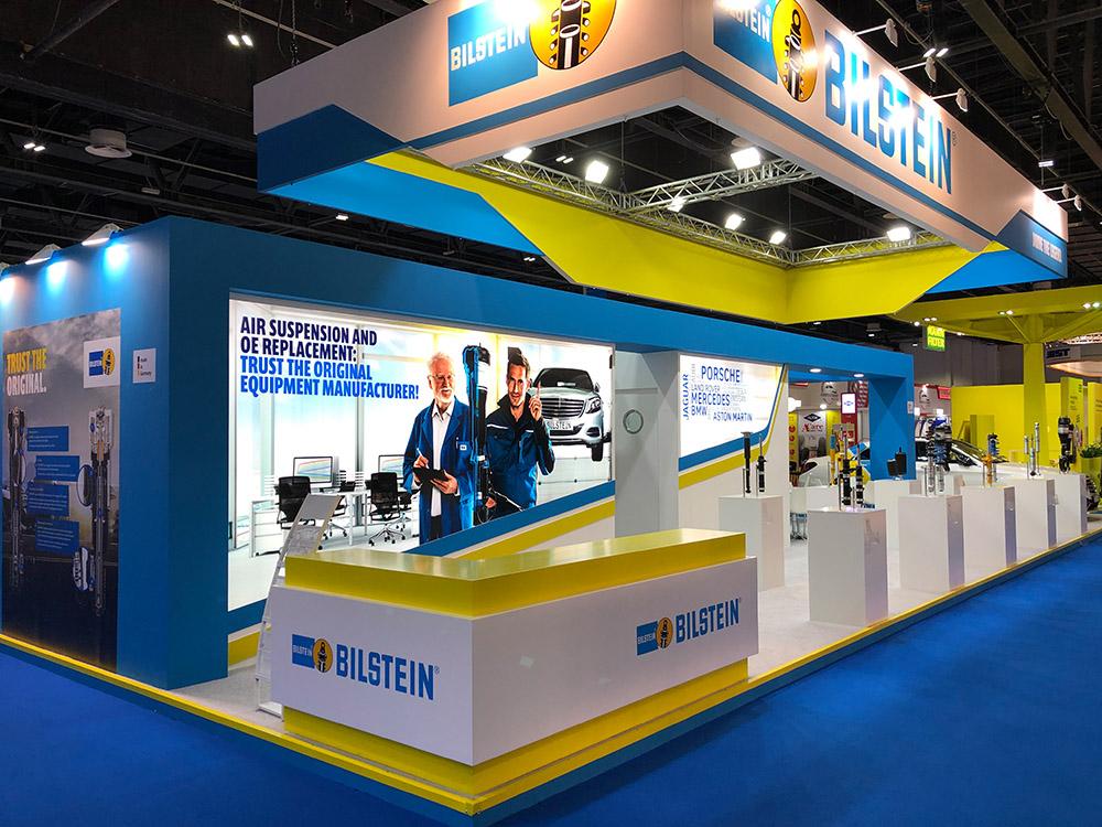 messestand von thyssenkrupp bilstein auf der automechanika in Dubai 2019